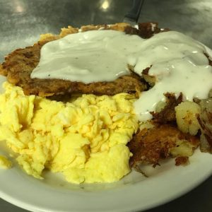 Chicken Fried Steak With Skillet Fries Scrambled Eggs