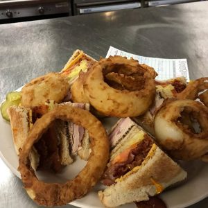 Club Sandwich With Onion Rings