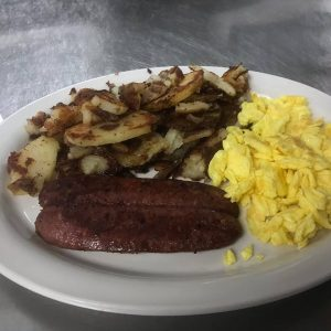 Hot Link Scrambled Eggs Skillet Fries