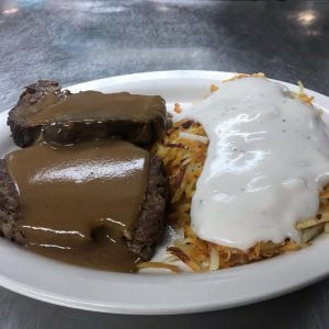 Meatloaf With Hashbrowns And Cream Gravy